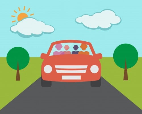 Cartoon image of a car representing private driving practice.