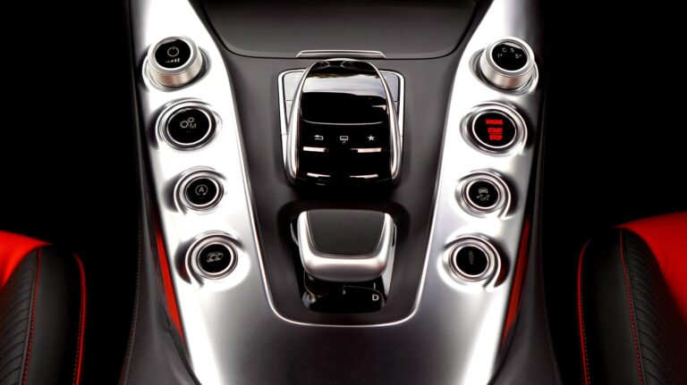Cockpit of a Mercedes AMG GT with automatic transmission.