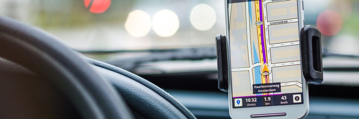 A smartphone sat nav system. The new driving test will include sat nav use.