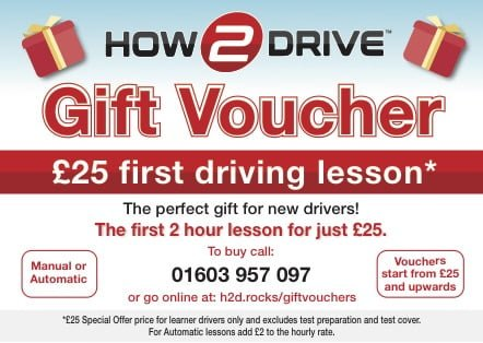 An example of a How-2-Drive driving lesson gift voucher.