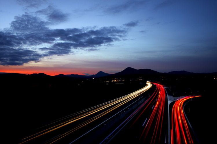 A night-time scene of motorists driving on the motorway. Soon, learner drivers will be joining them!