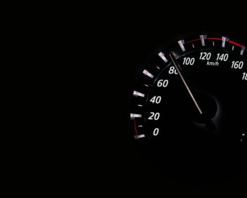 80 kph depicted on a speedometer. A speed awareness course should make a driver think twice before speeding.