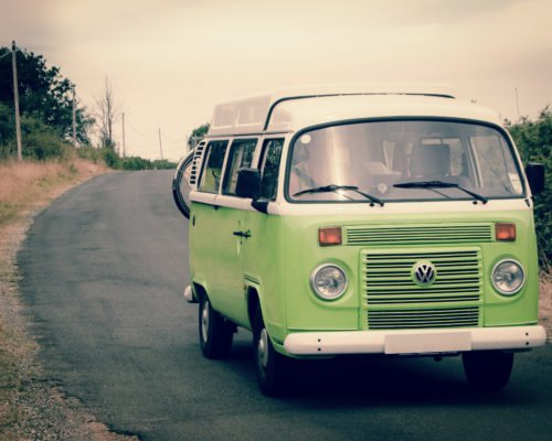 A VW camper -- the perfect vehicle for a road trip!