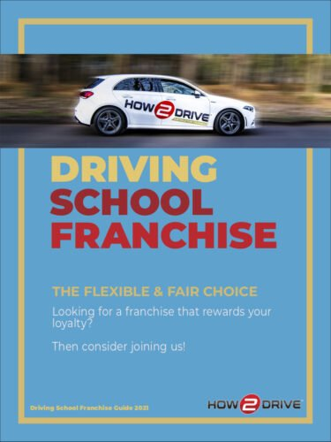 Front cover of the How-2-Drive driving school franchise brochure.