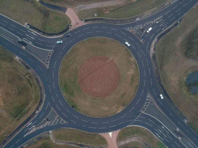 An aerial shot of Sprowston roundabout on the Broadland Northway (NDR).