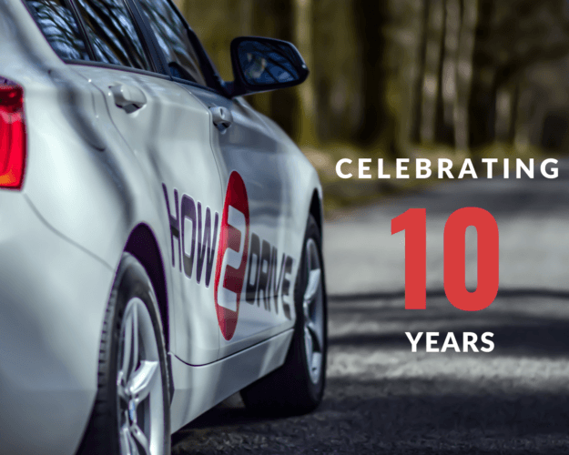 Picture showing a How-2-Drive car and the words, celebrating 10 years