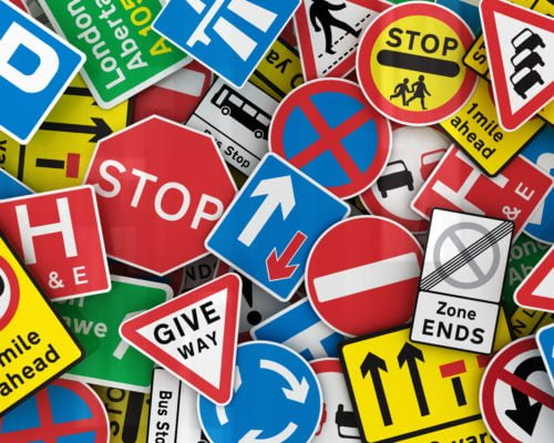 Picture showing lots of road signs