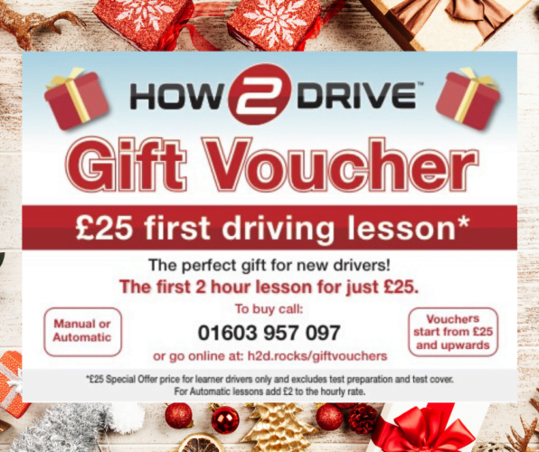 How-2-Drive Christmas driving lesson gift voucher.