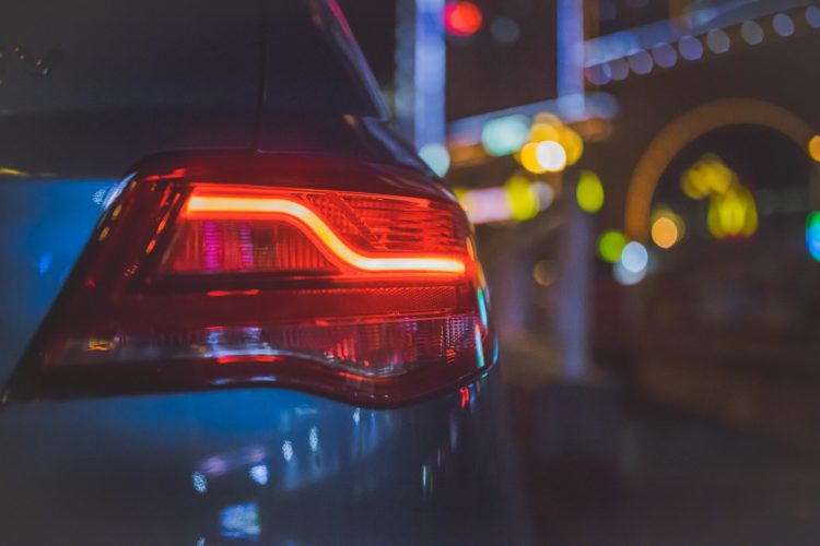 Picture showing car lights at night